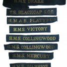 Royal Navy Cap Tally Collection plus Australia Set of 8 Mauritron #79118