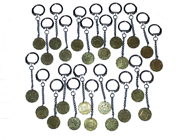 Keyrings 3d Threepence Bulk Job Lot of 25 1937 - 1967 Mauritron #79191.