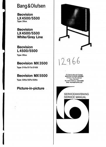 Bang & Olufsen Beovision Mx3500 Type 318x. Service Manual PDF download.