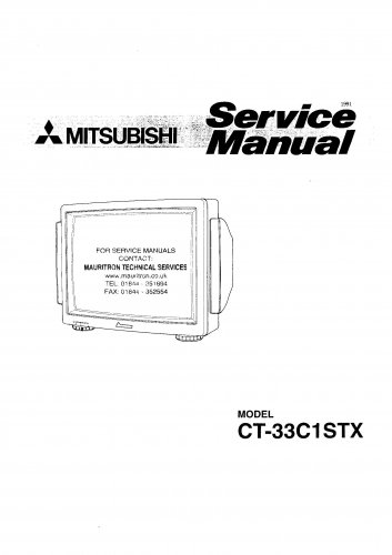 Mitsubishi CT33C1STX Television Service Manual PDF download.