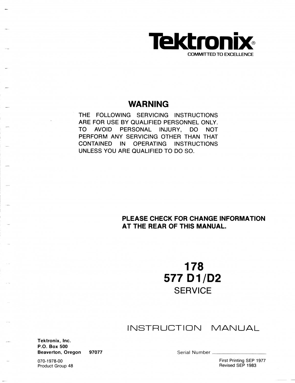Tektronix 577 D2 Test Equipment Service Manual PDF download.