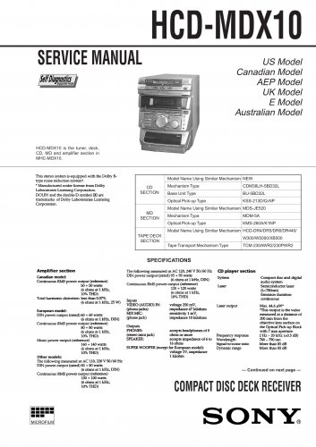 Sony HCDMDX10 Music System Service Manual Schematics PDF download.