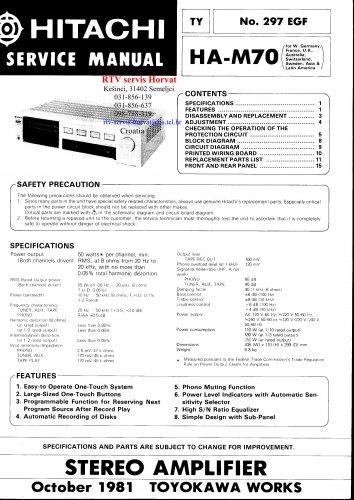 Hitachi  HAM70 Music System Service Manual PDF download.