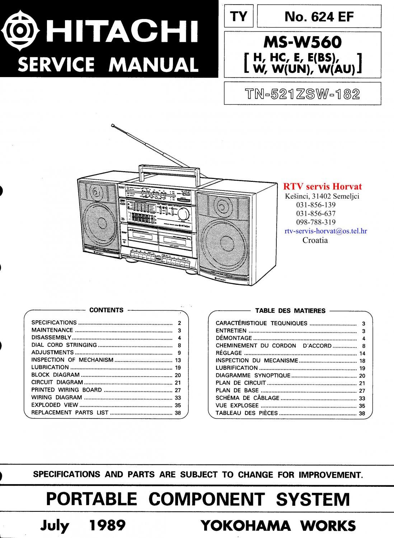 Hitachi  MSW560 Music System Service Manual PDF download.