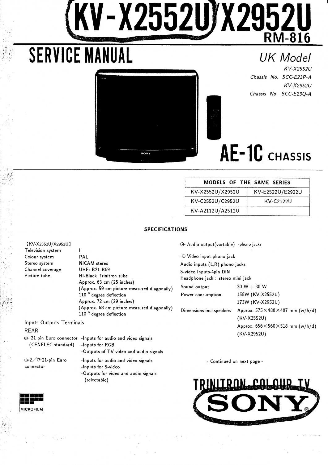 sony ae1c chassis television service manual pdf download rh ecrater co uk