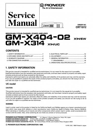 Pioneer GMX314  AMPLIFIER Service Manual PDF download.