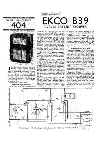 EKCO B39 Equipment Service Information by download #90167