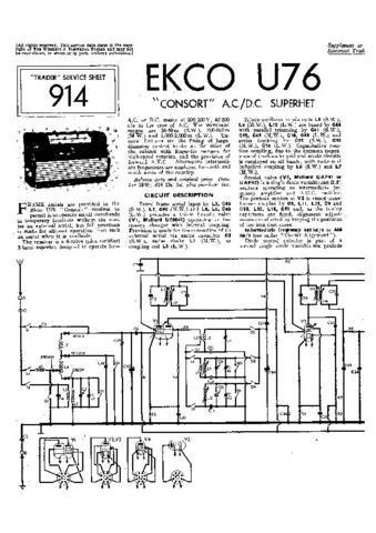 EKCO CONSORT Equipment Service Information by download #90182