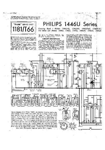 PHILIPS 1746UF Vintage TV Service Info  by download #90687
