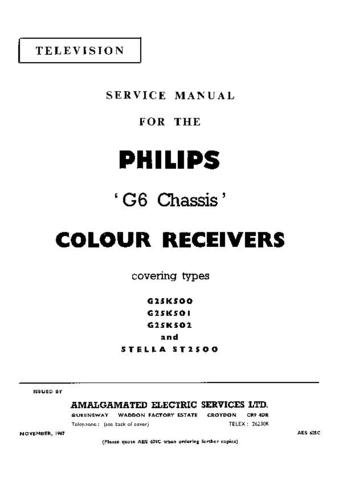 PHILIPS G25K502 Vintage TV Service Info  by download #90767