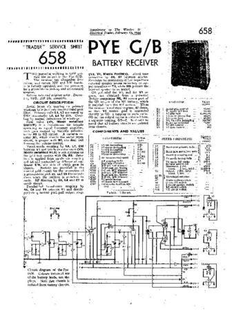 PYE G Vintage Service Information  by download #90908