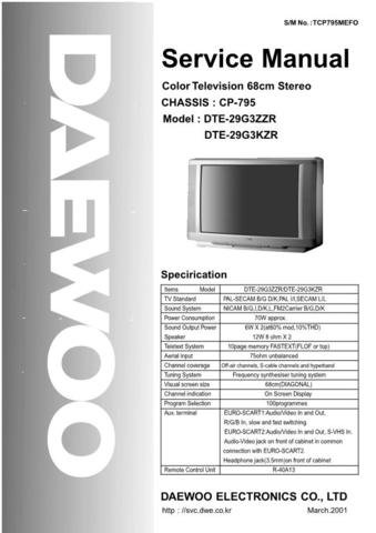 DAEWOO DTE29G3KZR Service Manual  by download #91339