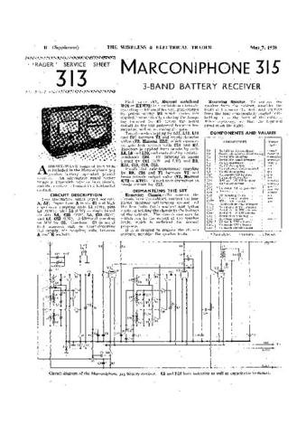 MARCONI 315 Vintage Service Information  by download #91810