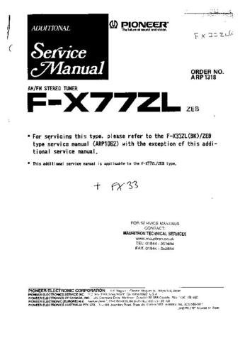 PIONEER FX77ZL Service Manual by download #91993