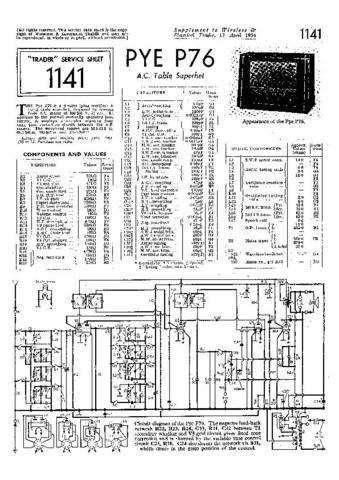 PYE P76 Vintage Service Information  by download #92074