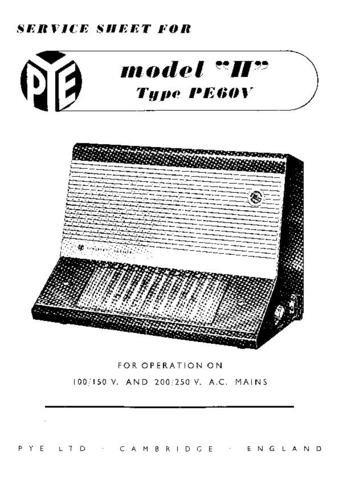 PYE PE60V Vintage Service Information  by download #92086