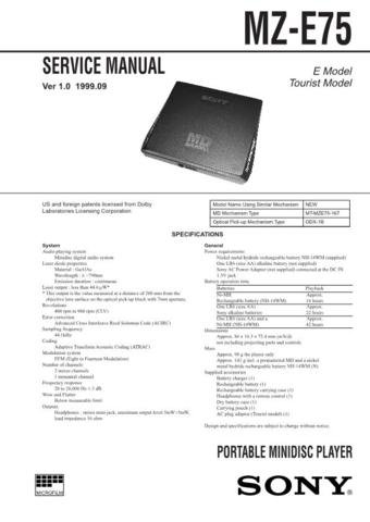SONY MZE75 Audio Service Manual  by download #92248