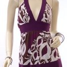 Purple Wide Band Tie Back Empire Waist Halter Top
