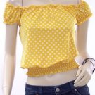 Yellow On/Off Sleeve Smocked Waist Blouse 5132