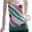 Large Green Wide Contrast Band Hem Tube Top 4901