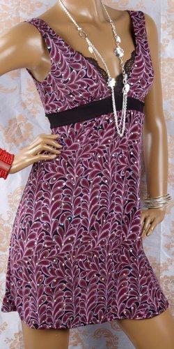 Lace Trim Glittering Sequin Paisley Dress