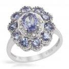 Genuine Diamond & Tanzanite Cocktail Ring Size 7