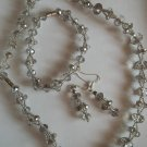 Faceted Gray Crystal Necklace and Bracelet Set