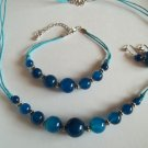 Blue Agate necklace  bracelet and earring set
