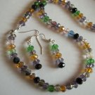 Multi Colored Crystal Necklace and Earing Set