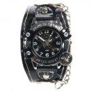 Round Face & Black Leather Quartz Wrist Watch