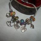 """European  Murano Glass Charm Bracelet 7.5"""""""
