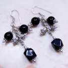 Black Onyx Earrings in Silver