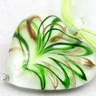 Green murano glass heartshaped pendant & necklace