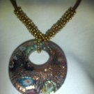 Earthy toned murano glass pendant and beaded necklace