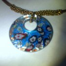 Blue toned murano glass pendant and beaded necklace