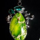 Natural Copper Turquoise & Green Amethyst Prasiolite Pendant in Silver