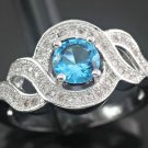 Family Heirloom - Vintage inspired Blue Topaz & White Zircon Ring Set in Silver