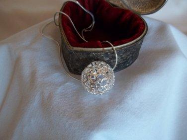 Silver filigree cutout 3D hearts ball pendant & chain