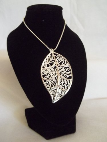 Silver Filigree Cutout Leaf Pendant and Necklace
