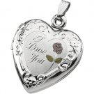 Sterling Silver Tri Color I Love You Heart Locket