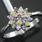 Multicolor Gem Silver Ring Size 7.5