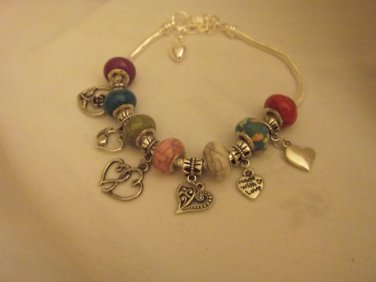"Murano Glass European Style Charm Bracelet 9"""