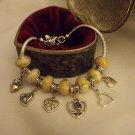 "Fun European  Murano Glass Charm Bracelet 9"""