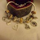 "Gorgeous  European  Murano Glass Charm Bracelet 9"""