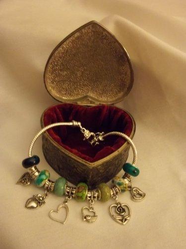 """Green & White  Murano Glass European Charm Bracelet 9"""""""
