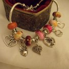 "Pink European Murano Glass Charm Bracelet 9"""