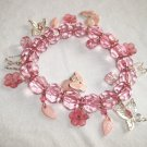 Pink Flower and Butterflies Charm Bracelet