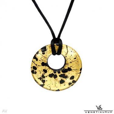 Multicolor murano glass pendant  & silk necklace