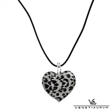 Murano Glass Heart Pendant & Black Leather Necklace