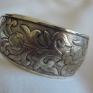 Flower Pattern on an Adjustable Silver Cuff